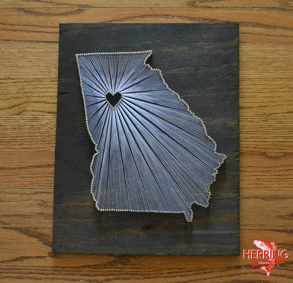 Nail Art Ideas state nail string art : Stained Georgia State String Art Atlanta Georgia Stained
