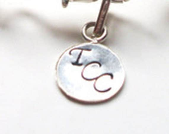 Personalized Metal Jewelry Tag  - 9 mm. Hand Stamped Round Silver Tone