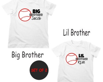 Big Brother Baseball Shirt & Little Brother Shirt or Bodysuit - 2 Personalized Sibling Shirts