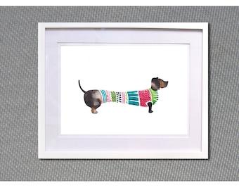 """Dachshund poster A4 Watercolour print """" Dog n stripes"""""""
