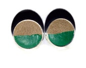 Green and Tan Leather Stud Earrings, Leather Earrings, Earstuds, Ear Stud Earring