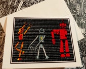 Dancing Robots Blank Note Card
