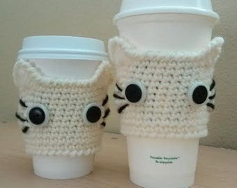 Crochet CAT Coffee Cup Cozy Cream / gift under 10 dollars