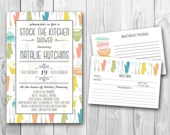 "Stock the Kitchen Shower and matching Modern ""Stackabowls"" Recipe Cards (PRINTABLE FILES)"