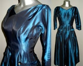Vintage 1950s Teal Shimmery Party Dress