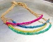 Gemstone Bracelet - Thin Bracelet - Gold Chain - Agate Jewelry - Bright - Stack - Minimal - Layer - Gift