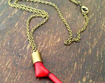 Red Coral Necklace - Brass Jewelry - Gemstone Jewellery