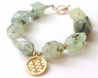 Prehnite Bracelet - Green Bracelet - Gold Jewellery - Vermeil - Gemstone Jewelry - Chunky - Fashion
