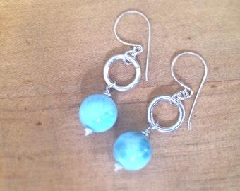 Larimar Earrings - Blue Earrings - Sterling Silver Jewellery - Gemstone Jewelry - Blue - AAA - Luxe