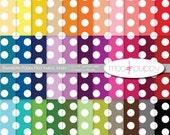 Polka Dot Digital Scrapbook Paper  --  Rainbow Polka Dot Large Apart -- INSTANT DOWNLOAD
