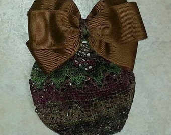 Chocolate Brown Grosgrain Hair Bow with Multicolored Net Snood