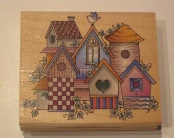Wood Mounted Rubber Stamp - Birdhouse Village - Hero Arts