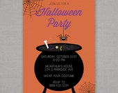 Halloween Birthday Invitation -- Cauldron