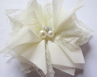 "10 Chiffon 3"" Lace Flower Rhinestone Pearl-Ivory D007-1"
