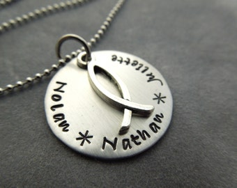 Personalized mothers necklace, hand stamped styainless stainless steel
