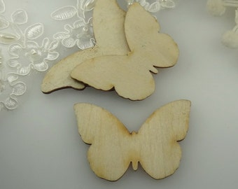 6 pcs  Laser Butterfly Pendants / Charms,Wooden ( WL-01)
