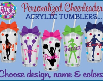 Personalized CHEERLEADER Clear ACRYLIC TUMBLERS w/ Name Cheerleader Polka Dots Pom Poms Cheerleading Squad Camp