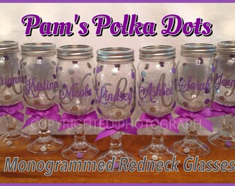 4 Personalized Monogrammed REDNECK WINE GLASS Mason Jar Glass with Initial & Name Overlay Monogram Polka Dots Wedding Bachelorette Party