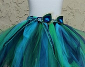 Peacock flower girl - Peacock tutu skirt - peacock skirt - purple green skirt - mardi gras skirt - peacock theme birthday