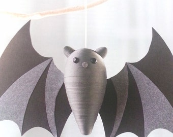 Halloween Bat Decoration Dark Grey and Black Paper Quilled Ornament