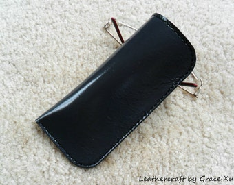 100% hand stitched handmade patent dark gray cowhide leather eyeglasses case