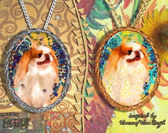 Japanese Chin Jewelry Pendant - Brooch Handcrafted Porcelain by Nobility Dogs - Gustav Klimt and Van Gogh