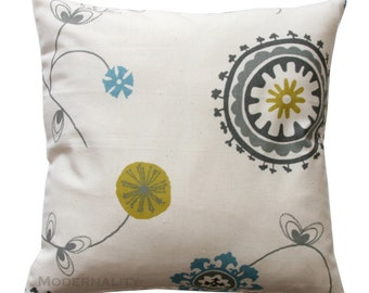 CLEARANCE Euro Sham, Summerland Emma Pillow, Citrine Throw Pillow, 24x24 Pillow, Zippered Pillow, Suzani Floral Decor, Read to Ship, SALE