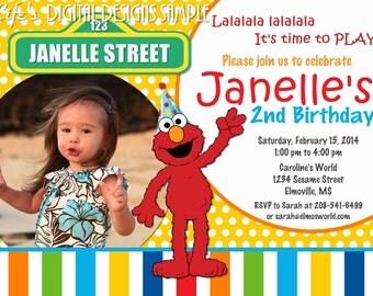 Elmo Birthday Photo Invitation Yellow Dots Multi Color Stripe Customizable Printable