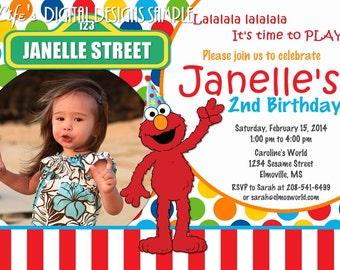 Elmo Birthday Invitation Photo Multi Colored Dots Red White Stripe Customizable Printable