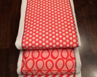 Baby Burp Cloth Set - Baby Set Burp Cloths - Orange Pink & White Chevron Polka Dot  Patterned (Set of 3)