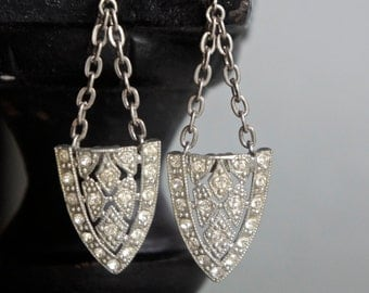 Vintage art deco dress clip assemblage earrings statement rhinestone earrings assemblage jewelry F67- by French Feather Designs.