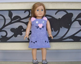 29) Knit Cat Jumper/Dress  15 and 18 Inch Dolls  American Girl  Cabbage Patch  Girlz  Gotz  Bitty Baby   ANY 15 or 18 Inch Doll