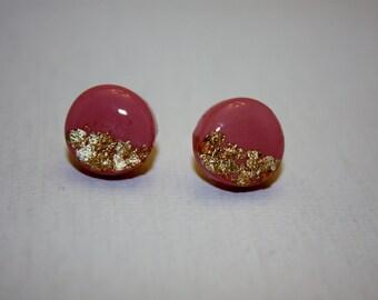 Pink Round stud earrings