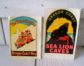 Two vintage travel stickers decals souvenir Oregon coast 1950s