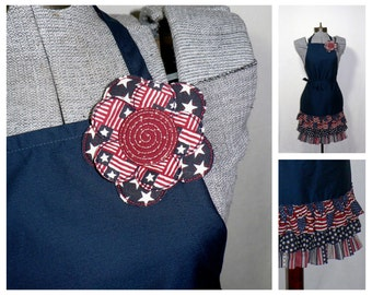 """Patriotic Ruffled Skirt Apron - Red White and Blue """"Americana"""" chef's style apron, flirty apron with removable pin"""