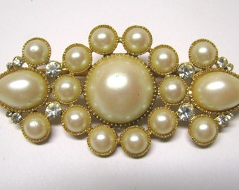 Vintage Ivory Faux Pearl Rhinestone Bar Style Brooch in Gold tone Metal Signed Richelieu, Victorian Style Bar Brooch