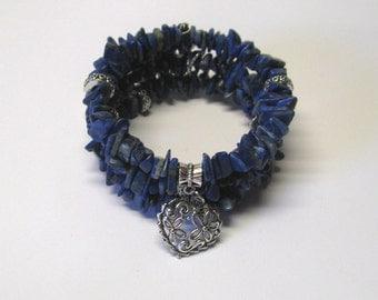 Denim Blue Lapis Heart Charm Memory Wire Bracelet, Three Strand Memory Wire Bracelet, Blue Memory Wire Bracelet