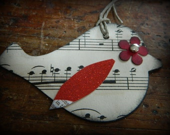 Vintage music paper birds - set of 2