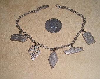 Vintage Charm Bracelet Silver Tone With Sam's Almanac Book Boat Chest 1920's Jewelry 7035