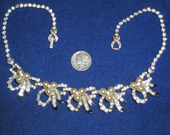 Vintage Signed Pennino Necklace With Rhinestones Faux Pearls Rhodium Plated 1940's Jewelry 2091