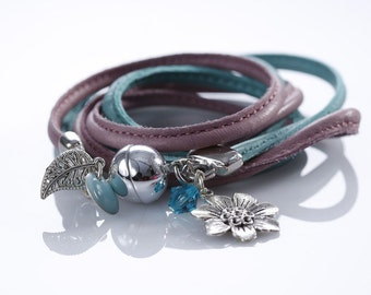 "Leather woven Bracelet ""Pastell Passion"""