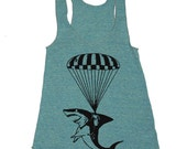 Womens Shark Paratrooper Tri-Blend Racerback Tank - american apparel tanktop shirt - XS, S, M, and L (9 Color Options)