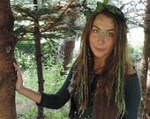 Clip In Felted Dreadlocks Green Dreads Woodland Forest Elf Wool Felt Locks Festival Tribal Pixie Gypsy Feathers Faery Fairy Hair Weft Clip