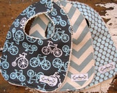 Baby Bibs for Baby Boy - Bikes on Grey, Vintage Blue Chevron, and Full Moon Slate - Set of 3 in Grey and Blue