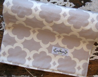 Minky Baby Blanket - Neutral Taza Flower - Taupe Grey - Baby Girl Blanket