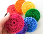 Nylon Pot Scrubber -  Set of 8 - Rainbow Collection - Crochet Dish Scrubbies