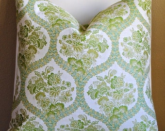 NEW-Designer PIllow Cover-20x20-Floral Pillow-Ogee-Green Pillow-Both Sides