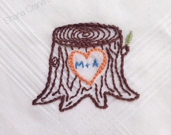 Carved . Hand-embroidered Handkerchief