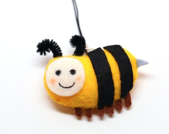 Yellow Bee Brooch,Ornament Charm,Dust plug,Child Gift