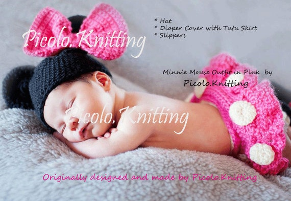 EXCLUSIVE Crochet Newborn Infant DISNEY Minnie Mouse Outfit Hat Diaper Cover with tu-tu Skirt,Shoes - in PINK